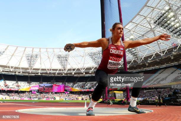 Sandra Perkovic of Croatia competes in the Women's Discus qualification during day eight of the 16th IAAF World Athletics Championships London 2017...