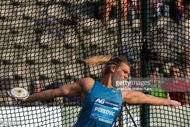 Sandra Perkovic of Croatia competes in the Women's Discus during the AG Insurance Memorial Van Damme as part of the IAAF Diamond League 2015 in King...