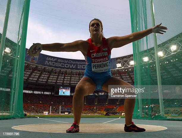 Sandra Perkovic of Croatia competes in the Women's Discus final during Day Two of the 14th IAAF World Athletics Championships Moscow 2013 at Luzhniki...