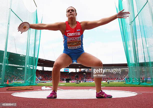 Sandra Perkovic of Croatia competes in the Women's Discus final during day five of the 22nd European Athletics Championships at Stadium Letzigrund on...