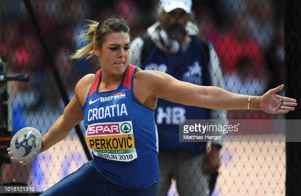 Sandra Perkovic of Croatia competes in the Women's Discuss Final during day five of the 24th European Athletics Championships at Olympiastadion on...