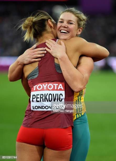 Sandra Perkovic of Croatia gold and Dani Stevens of Australia silver celebrate after the Women's Discus final during day ten of the 16th IAAF World...