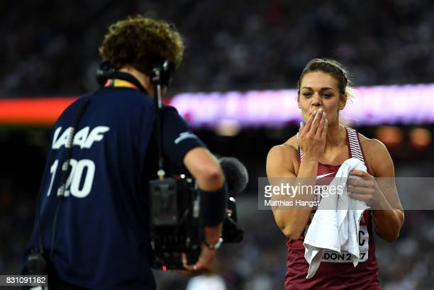 Sandra Perkovic of Croatia gold celebrates after the Women's Discus final during day ten of the 16th IAAF World Athletics Championships London 2017...