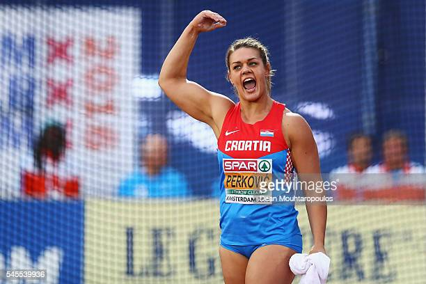 Sandra Perkovic of Croatia in action during the final of the womens discus on day three of The 23rd European Athletics Championships at Olympic...