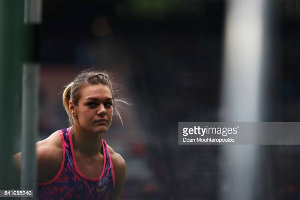 Sandra Perkovic of Croatia looks on before she competes in the Discus Throw Women during the AG Memorial Van Damme Brussels as part of the IAAF...