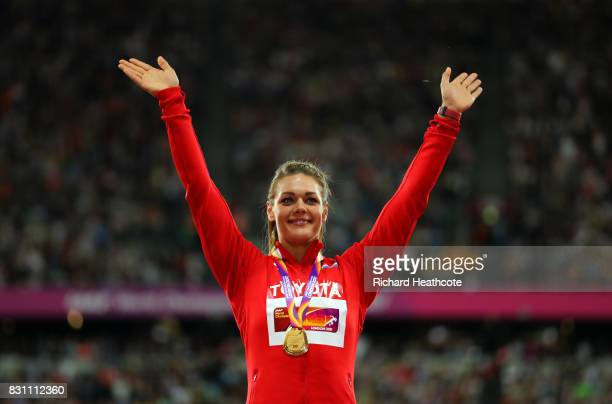 Sandra Perkovic of Croatia poses on the podium with her gold medal for the Women's Discus final during day ten of the 16th IAAF World Athletics...