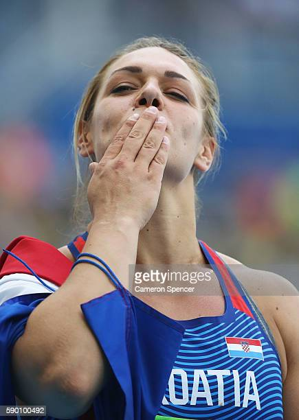 Sandra Perkovic of Croatia reacts after winning the gold medal in the Women's Discus Throw Final on Day 11 of the Rio 2016 Olympic Games at the...