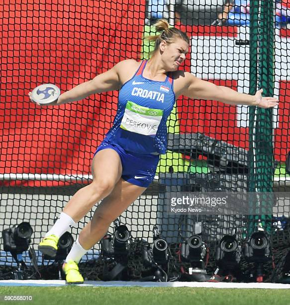 Sandra Perkovic of Croatia throws during the women's discus final at the Rio de Janeiro Olympics on Aug 16 2016 Perkovic won gold with a throw of...