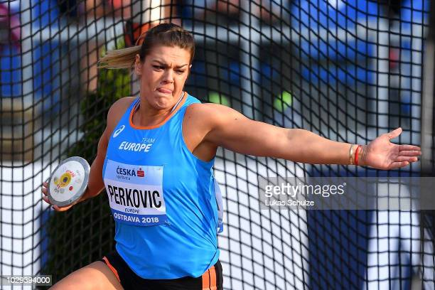 Sandra Perkovic of Team Europe competes in the Womens Discus Throw during day one of the IAAF Continental Cup at Mestsky Stadium on September 8 2018...