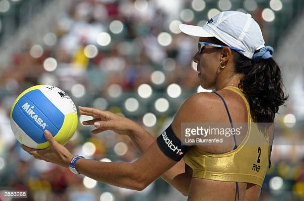 Sandra Pires Tavares of Brazil prepares to serve during the gold medal match against team USA at the 2003 SwatchFIVB World Tour Nissan Grand Slam on...
