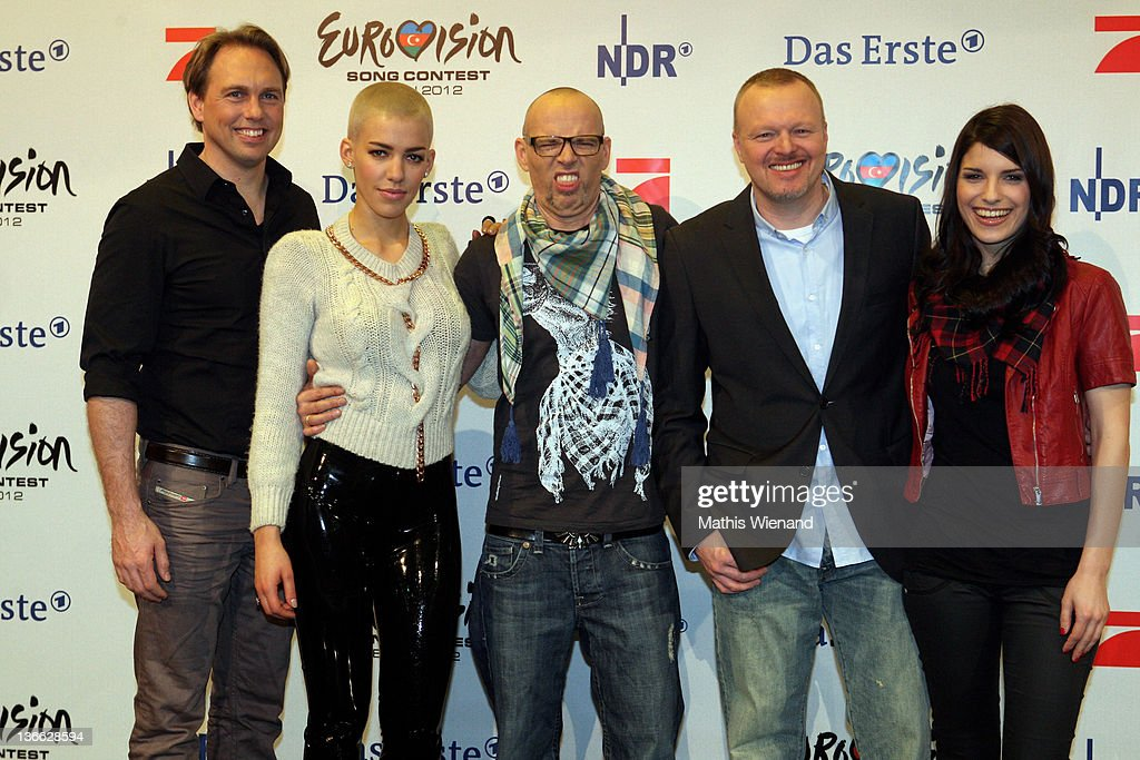 Sandra Riess, Stefan Raab, Thomas D, Alina Sueggeler, Steven Gaetjen pose during the press conference of 'Our Star For Baku' at Brainpool Studios on January 9, 2012 in Cologne, Germany.