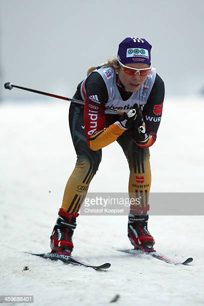 Sandra Ringwald of Germany competes in the Women's 15km qualification free sprint at the Viessmann FIS Cross Country World Cup event at DKB Ski Arena...