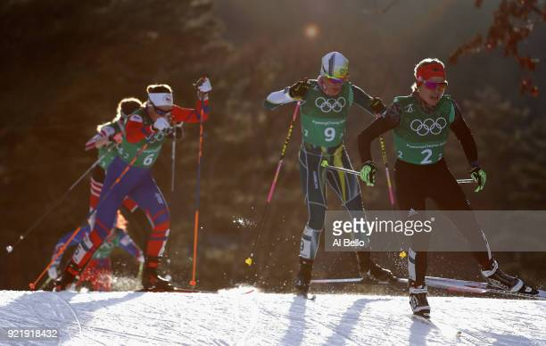 Sandra Ringwald of Germany leads the pack during the Cross Country Ladies' Team Sprint Free semi final on day 12 of the PyeongChang 2018 Winter...