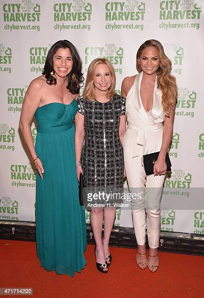 Sandra Ripert, Gillian Miniter and Chrissy Teigen attend the City Harvest's 21st Annual Gala - An Evening Of Practical Magic at Cipriani 42nd Street...