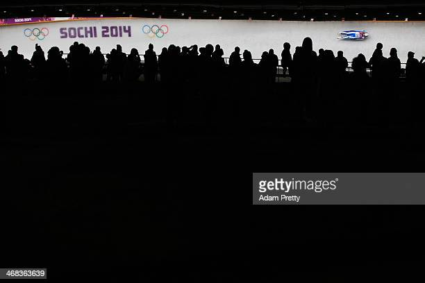 Sandra Robatscher of Italy makes a run during the Women's Luge Singles on Day 3 of the Sochi 2014 Winter Olympics at Sliding Center Sanki on February...