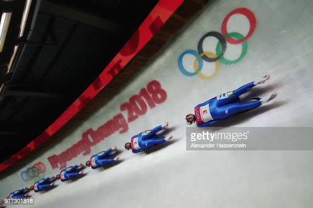 Sandra Robatscher of Italy slides during the Women's Singles Luge run 2 at Olympic Sliding Centre on February 12, 2018 in Pyeongchang-gun, South...