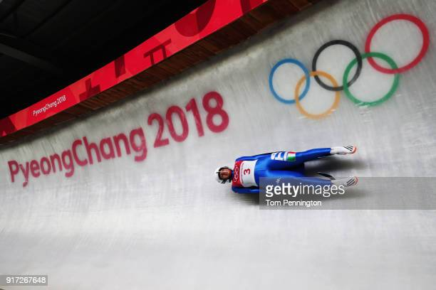 Sandra Robatscher of Italy slides in the Women's Singles Luge run 1 at Olympic Sliding Centre on February 12, 2018 in Pyeongchang-gun, South Korea.