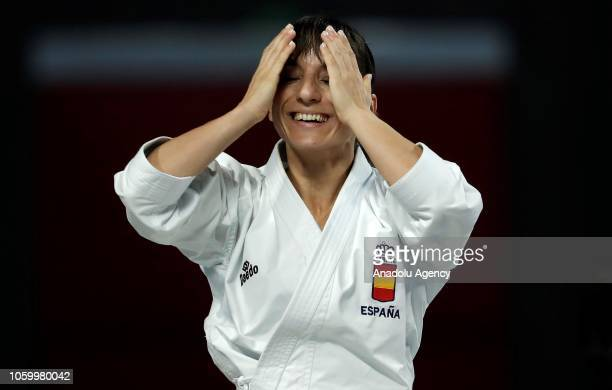 Sandra Sanchez of Spain celebrates after her women's individual kata gold medal match against Kiyou Shimizu of Japan within the 24th Karate World...