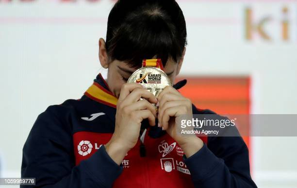 Sandra Sanchez of Spain celebrates with her gold medal after winning her Women's Individual Kata gold medal match against Kiyou Shimizu of Japan...