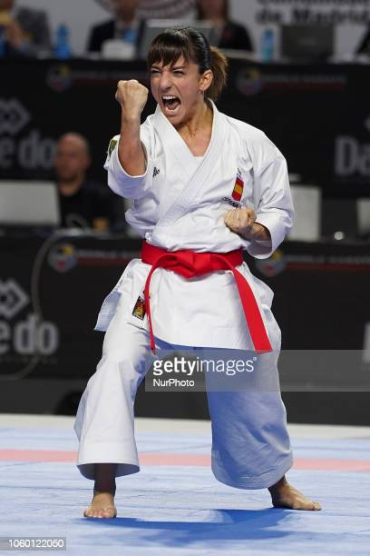 Sandra Sanchez of Spain competes during Women's Individual Kata gold medal match against Kiyou Shimizu of Japan within the 24th Karate World...