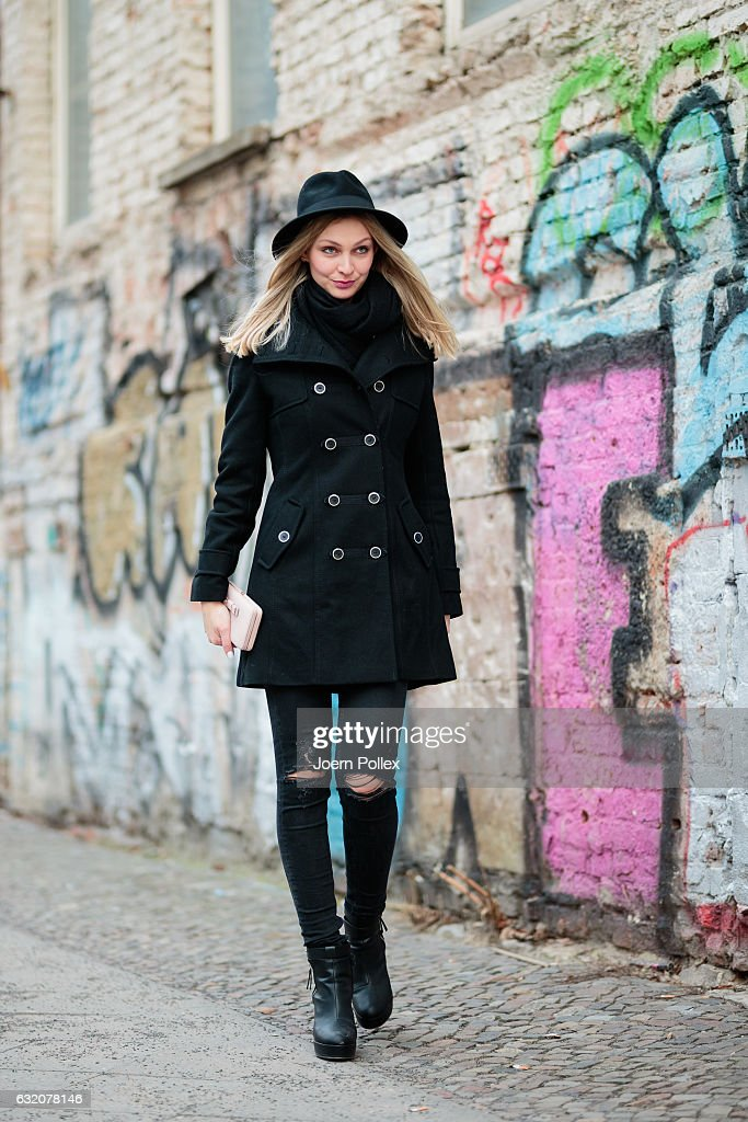 Sandra Schild, wearing Zara, poses for photos during the Mercedes-Benz Fashion Week Berlin A/W 2017 at Kaufhaus Jandorf on January 19, 2017 in Berlin, Germany.