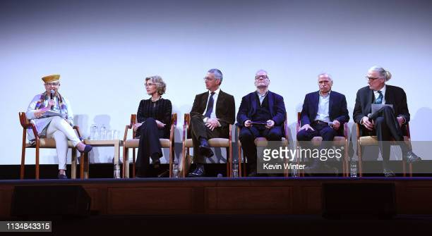 Sandra Schulberg Jane Fonda Alexander Payne Thierry Fremaux Grover Crisp and JanChristopher Horak appear onstage at the HFPA Film Restortion Summit...