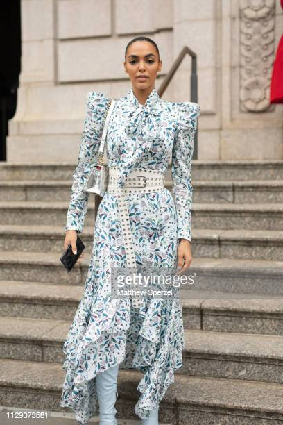 Sandra Shehab is seen on the street during New York Fashion Week AW19 wearing Carolina Herrera on February 11 2019 in New York City