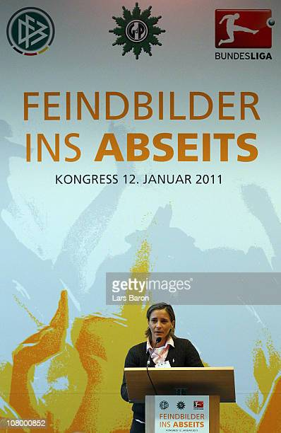 Sandra Smisek holds a speech during the DFB security congress at Steigenberger Airport Hotel on January 12 2011 in Frankfurt am Main Germany