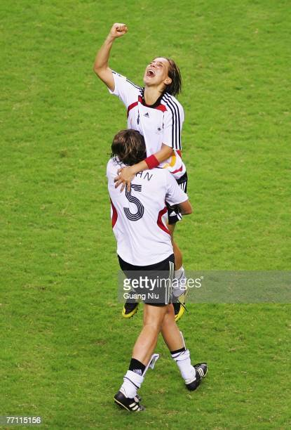 Sandra Smisek of Germany celebrates after they won the Women's World Cup after winning the Women's World Cup 2007 Final between Brazil and Germany at...