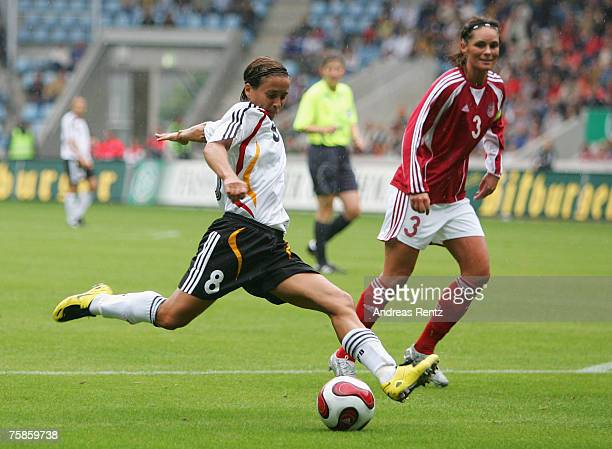 Sandra Smisek of Germany in action during the women's international friendly match between Germany and Denmark at Magdeburg stadium on July 29 2007...