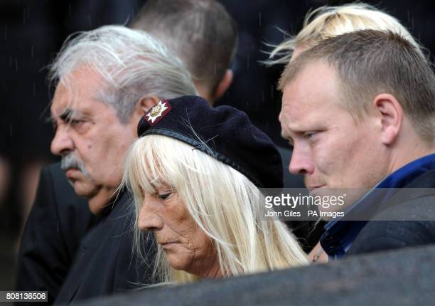 Sandra Smith wearing the regiment beret of the Royal Dragoon Guards at the funeral of her son Trooper Ashley Smith in York Minster
