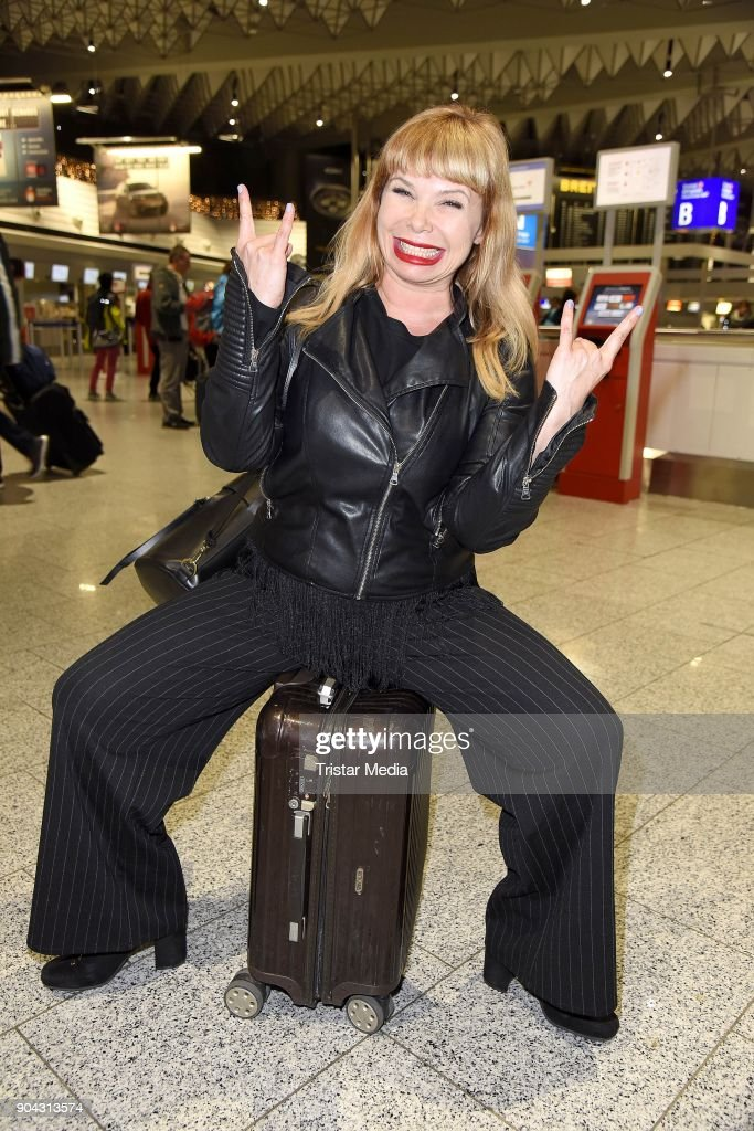 Sandra Steffl leaves for 'I'm a celebrity- Get Me Out Of Here!' ('Ich bin ein Star - Holt mich hier raus!') in Australia at Frankfurt International Airport on January 12, 2018 in Frankfurt am Main, Germany. 'I'm a celebrity - Get Me Out Of Here!' ('Ich bin ein Star - Holt mich hier raus!'), also known as 'Jungle Camp' ('Dschungel- Camp') is an annual German reality TV show.