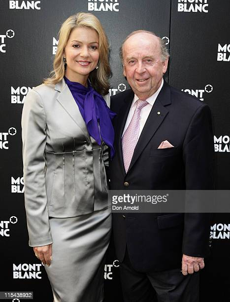 Sandra Sully and Jeffrey McEntyre attend the official launch celebrating the arrival of the Montblanc Art Bags sculptures at the Martin Place...