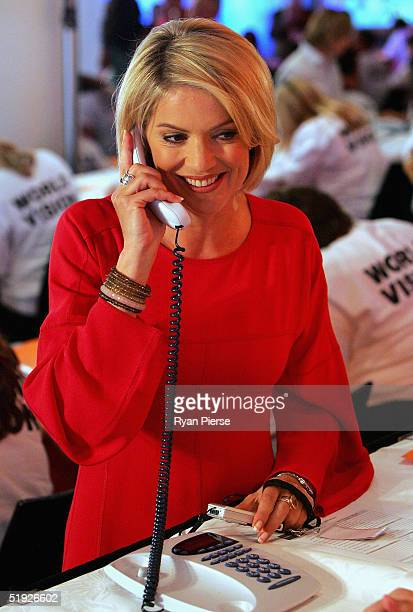 Sandra Sully takes donations in the call centre during the Reach Out To Asia Telethon at the Telstra Dome January 8 2004 in Melbourne Australia