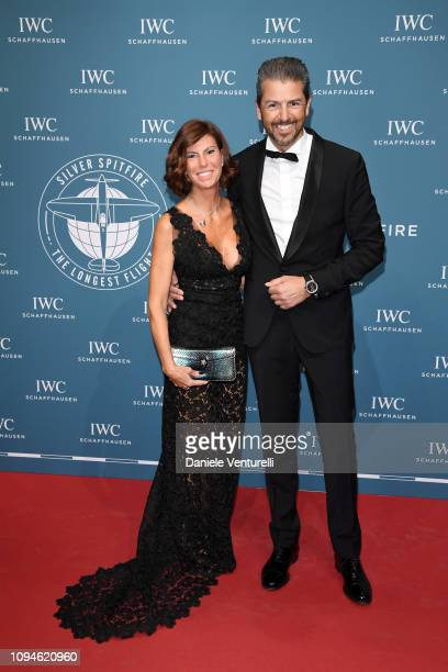 Sandra Vecchi and Andrea Berton walk the red carpet for IWC Schaffhausen at SIHH 2019 on January 15 2019 in Geneva Switzerland