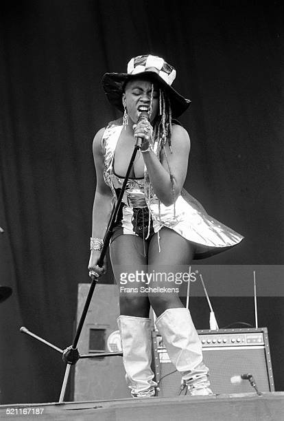 Sandra Victor, vocal, performs with the Family Stand at Pinkpop on June 8th 1992 in Amsterdam, Netherlands.