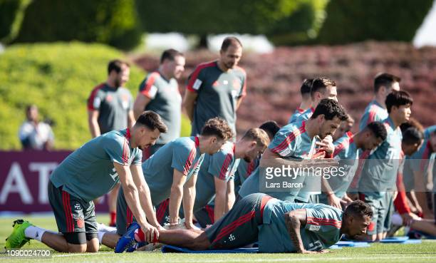 Sandra Wagner, Jerome Boateng and Mats Hummels train during a training session at day two of the Bayern Muenchen training camp at Aspire Academy on...