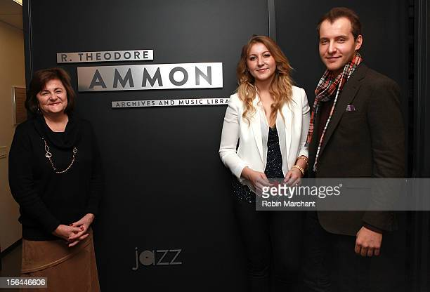 Sandra Williams Alexa Ammon and Greg Ammon attend the ribbon cutting for The Ammon Archives and Music Library at Jazz at Lincoln Center on November...