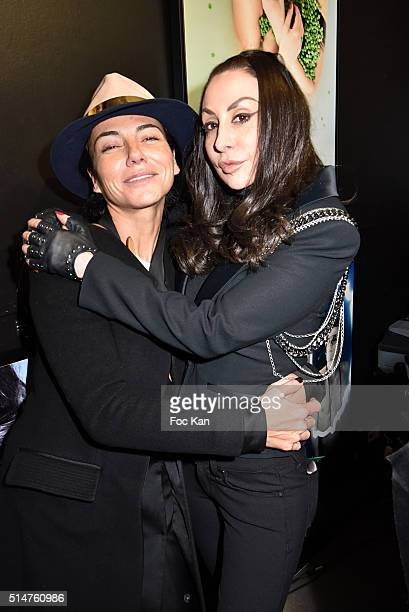 Sandra Zeitoun and Stefanie Renoma attend Eat My Art Stefanie Renoma Photo Exhibition at Black Gallery on March 10 2016 in Paris France