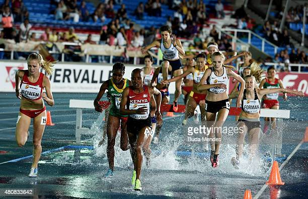 Sandrafelis Chebet Tuei of Kenya in action during round one of the Girls 2000 Meters Steeplechase on day one of the IAAF World Youth Championships...