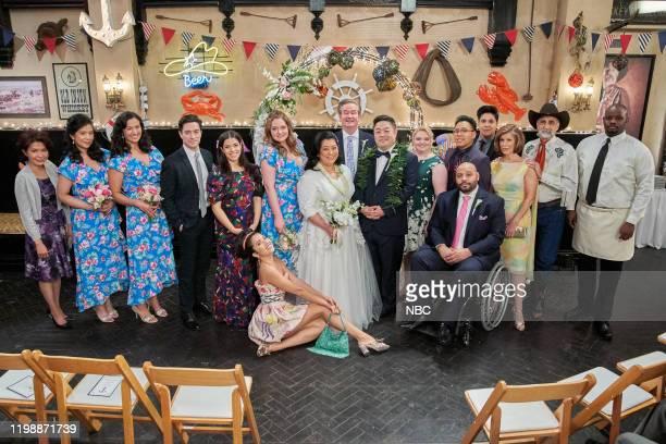 "Sandra's Wedding"" Episode 514 -- Pictured: Ben Feldman as Jonah, America Ferrera as Amy, Nichole Bloom as Cheyenne, Lauren Ash as Dina, Kaliko Kauahi..."