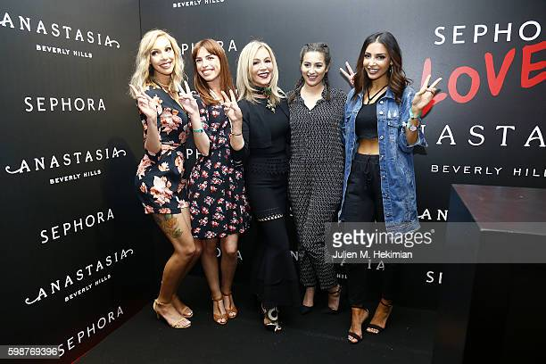 Sandrea Babillages Anastasia Soare Horia and Sananas attend the Anastasia Beverly Hills Launches Beauty Line Exclusively at Sephora ChampsElysees on...