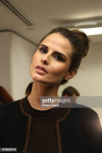 Sandrina Bencomo poses backstage for Irina Vitjaz during New York Fashion Week The Shows at Gallery I at Spring Studios on February 14 2018 in New...