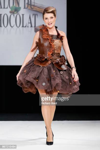 Sandrine Arcizet walks the runway during the Dress Chocolate show as part of Salon du Chocolat at Parc des Expositions Porte de Versailles on October...