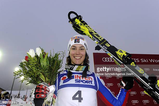 Sandrine Aubert of France takes 1st place during the Audi FIS Alpine Ski World Cup Women's Slalom on December 13 2009 in Are Sweden