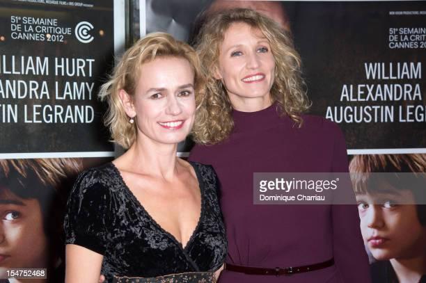 Sandrine Bonnaire and Alexandra Lamy attends the 'J'enrage de Son Absence' Premiere at UGC Cine Cite des Halles on October 25 2012 in Paris France