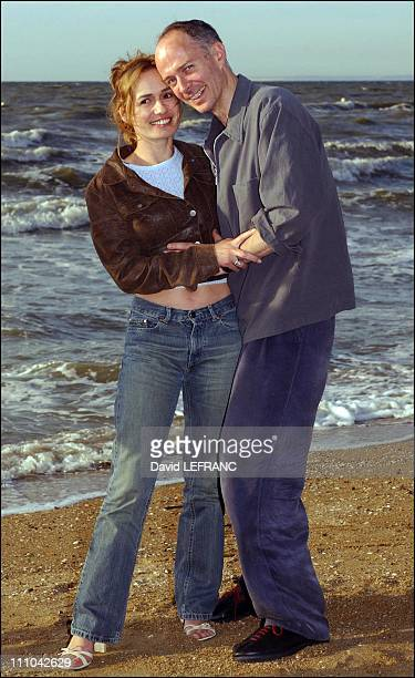 Sandrine Bonnaire and husband Guillaume Laurantat the Cabourg Romantic Film Festival in Cabourg France on June 13 2003