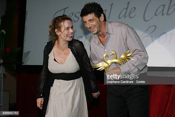 Sandrine Bonnaire and Patrick Bruel during the Golden Swan Ceremony of the 2004 Cabourg Film Festival