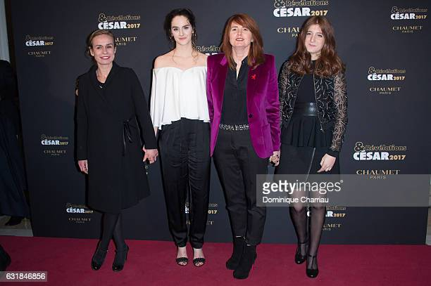 Sandrine Bonnaire Noemie Merlant Marie Castille MentionSchaar and guest attend the Cesar Revelations 2017' Photocall at salon Chaumet on January 16...