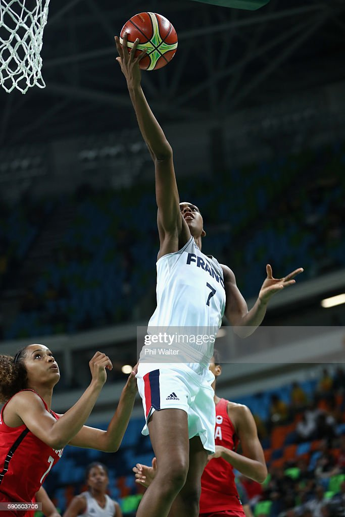 Sandrine Gruda of France shoots during the Women's Quarterfinal match between France and Canada at Carioca Arena 1 on August 16, 2016 in Rio de Janeiro, Brazil.